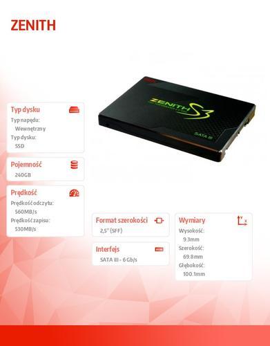 "Geil DYSK SSD ZENITH 240GB 2,5' SATAIII ADAPTER 3.5"""