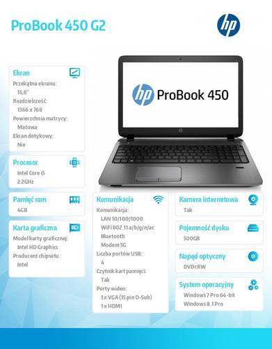 HP 450 G2 i5-5200U W78P 500/4G/DVDRW/15,6 K9K42EA