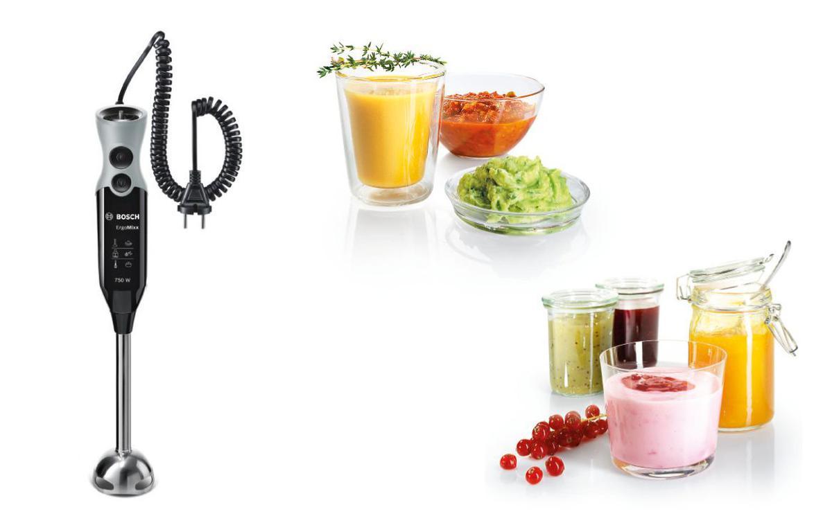 ręczny blender Bosch wraz z przyrządzonymi napojami