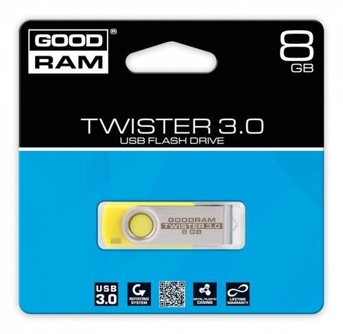 GoodRam TWISTER YELLOW 8GB USB3.0