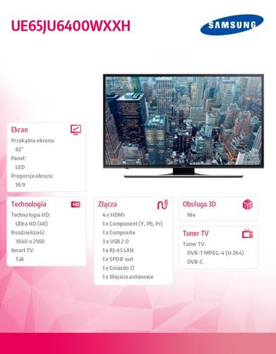 "Samsung 65"" TV Slim LED Ultra HD UE65JU6400WXXH"