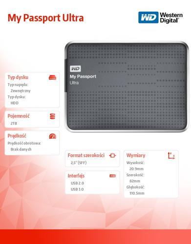 Western Digital Passport WDBMWV0020BTT-EESN 2TB 2,5'' USB 3.0 - Titanium