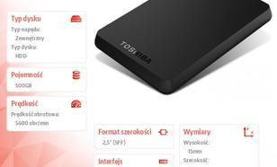 Toshiba CANVIO BASICS 2.5 500GB USB 3.0 BLACK