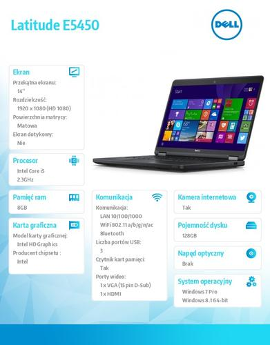 "Dell Latitude E5450 Win78.1Pro(64-bit win8, nosnik) i5-5300U/128GB/8GB/BT 4.0/4-cell/Office 2013 Trial/UMA/KB-Backlit/14.0""FHD/3Y NBD"