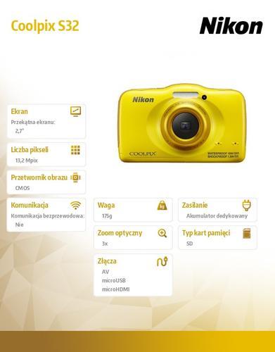 Nikon Coolpix S32 żółty 13,2 MPx, 3xOZ, 1080