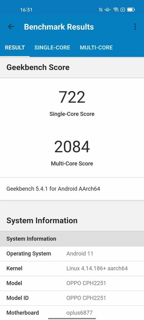 Wynik OPPO Reno6 5G w Geekbench 5