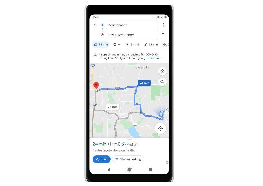 Grafika prezentująca nowe usługi w Google Maps