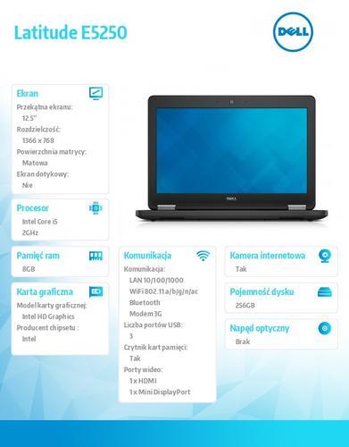 """Dell Latitude E5250 W7PR(64bit Win8.1lic) i5-4310U/8GB/256GB SSD/HD4400/LTE/3c/Backlit/12.5"""" HD NT AG/Channel 3Yr"""