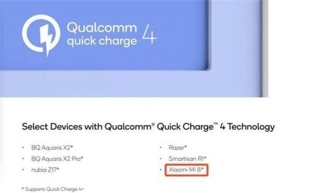 quick charge 4.0 w xiaomi mi 8