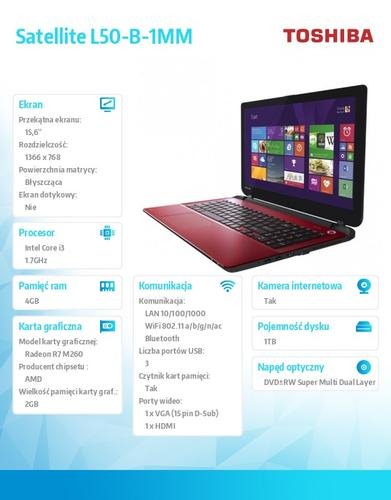 "Toshiba Satellite L50-B-1MM No OS i3-4005U/1TB/4GB/R7 M260 2GB/DVD/15.6"" Red"