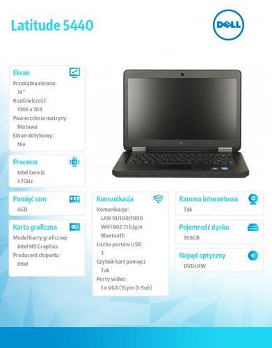 "Dell Latitude E5440 W78.1 (lic 64-bit Win8, nosnik) i5-4210U/500+8GB SSHD/ 4GB/HD4400/DVD-RW/6Cell/3Y NBD/14"" HD"