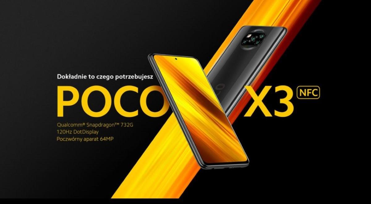 POCO X3 6/128 GB na czarnym tle