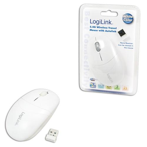 LogiLink Mysz optyczna 2.4GHz (biala) z funkcja Autolink