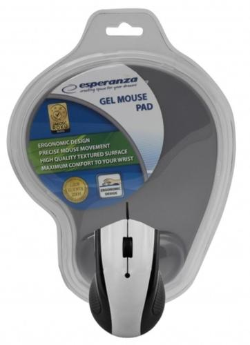 ESPERANZA Przewodowa mysz optyczna z podkładką żelową. 1200 DPI, trzy przyciski, szara