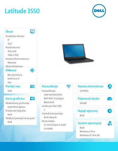 "Dell Latitude 3550 Win78.1(64-bit win8, nosnik) i3-4005U/500GB/4GB/BT 4.0/3-cell/Office 2013 Trial/Integrated HD4400/15.6""HD/3Y NBD"