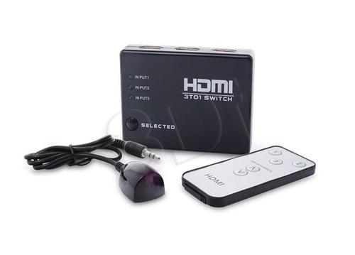 SAVIO HDMI SWITCH 3 PORTY FULL HD 1080P WYDAJNOŚĆ: DO 2.5GBPS TRYB AUTOMATYCZNY LUB RĘCZNY + PILOT CL-28