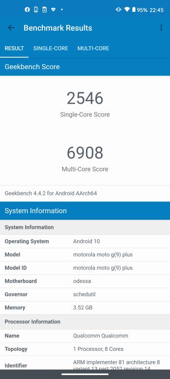 Motorola Moto G9 Plus w Geekbench 4