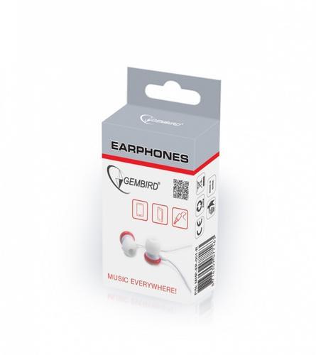 GEMBIRD Słuchawki douszne MHP-EP-001 3,5mm jack 90cm Czerwone