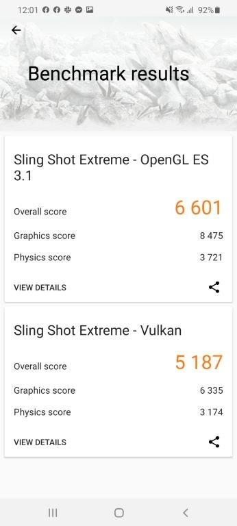 Samsung Galaxy S20 Ultra - wynik w 3D Mark
