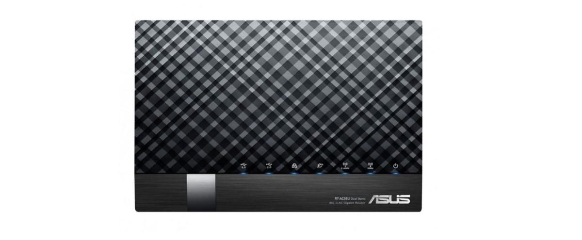 Router Asus DSL-AC56U na białym tle