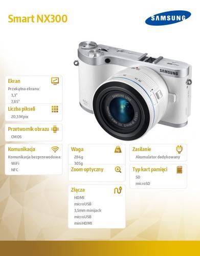 Samsung Smart NX300 biały + 18-55mm + Onyx MIDIA SLM 7800 BLADE
