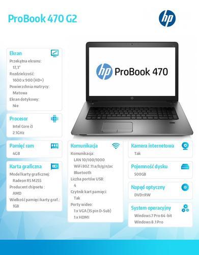 HP 470 G2 i3-5010U W78P 500/4G/DVDRW/17,3 K9J28EA