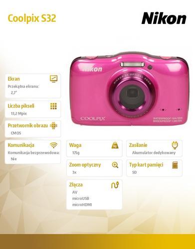 Nikon Coolpix S32 różowy 13,2MPx, 3xOZ