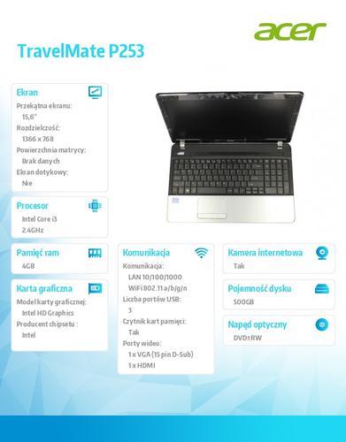"""Acer TravelMate P253-M-33114G50MAKS i3-3110M/15.6""""/Intel HD/4GB/500GB/DVD RW/W7Pro+W8Pro"""
