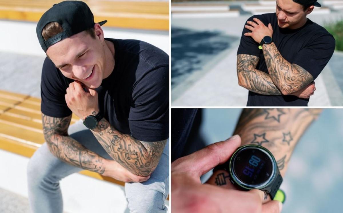Kolaż mężczyzny ze smartwatchem Garett Sport