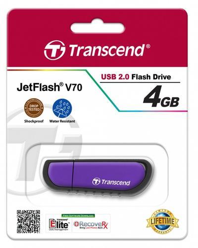 Transcend JETFLASH V70 4GB USB2.0 VIOLET SHOCK/WATER PROOF