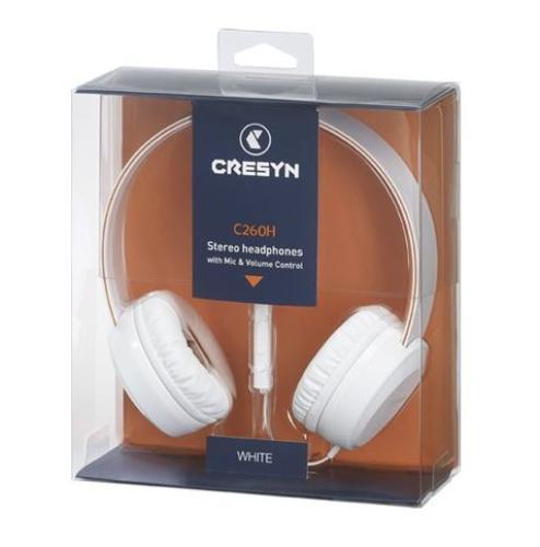 Cresyn C260H Słuchawki nauszne z mikrofonem i pilotem białe