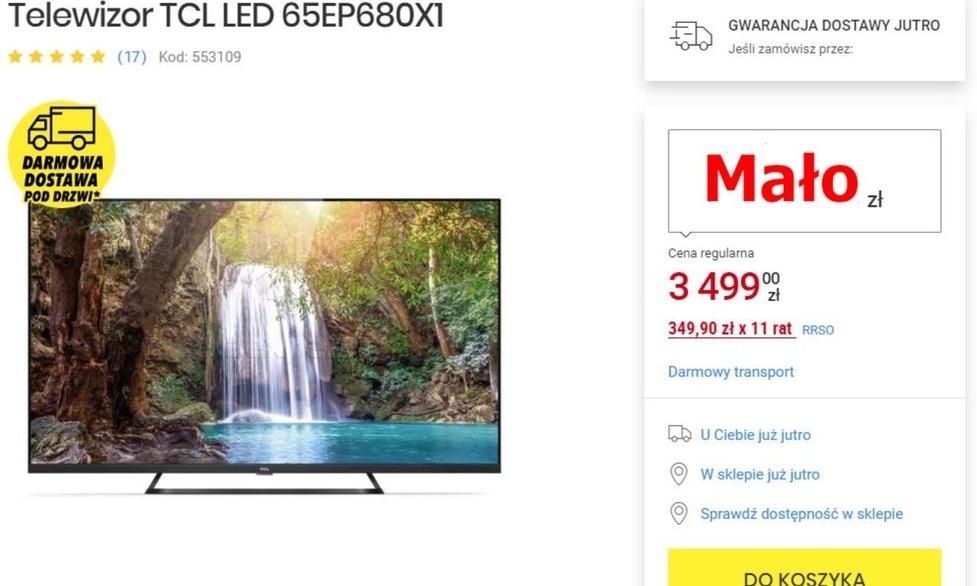 65-calowy telewizor poniżej 3000 złotych! Nie można tego przegapić