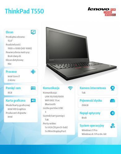 """Lenovo ThinkPad T550 20CJ0007PB Win7Pro & Win8.1Pro 64-bit i7-5600U/8GB/SSD 256GB/HD5500/N-Optical/3c+3c/15.6"""" FHD,WWAN Ready,Black/3 Yrs OS"""