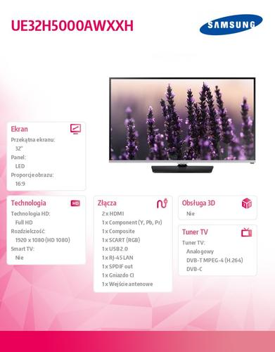 Samsung 32'' TV Slim LED Full HD UE32H5000AWXXH