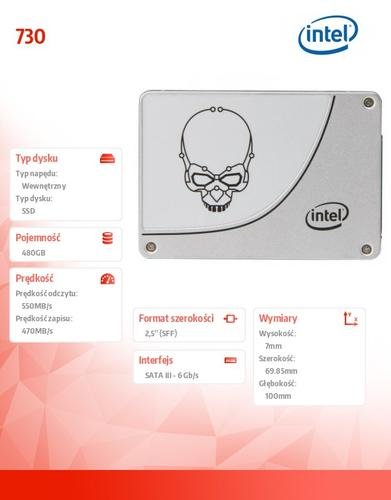 Intel SSD 730 480GB 7mm SATA3 550/470MB/s 2,5'OEM Pack