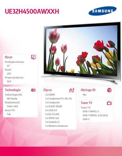 Samsung 32'' TV Slim LED HD UE32H4500AWXXH