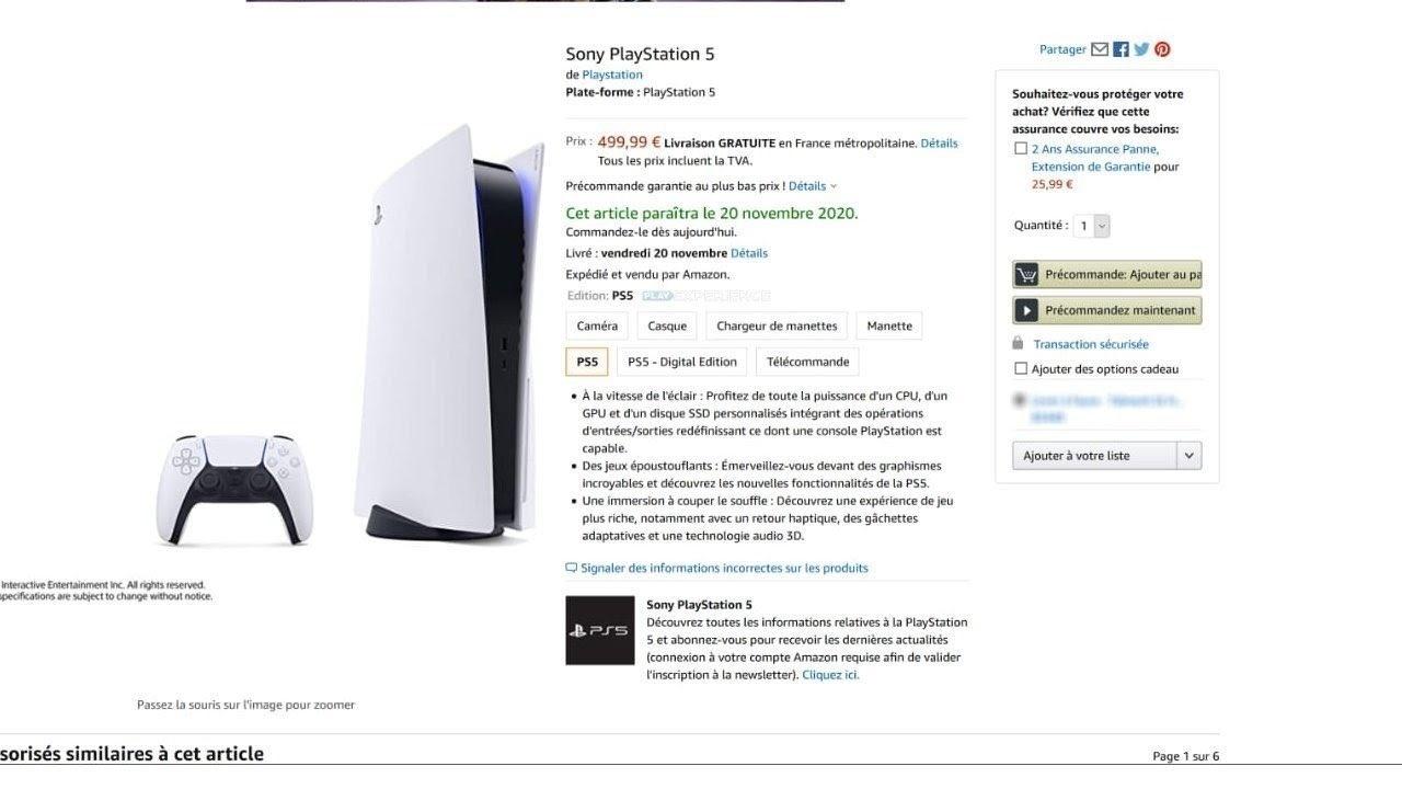 Zrzut ekranu z cena PS5, któy pochodzi z francuskiego Amazonu.
