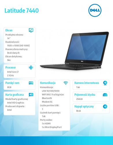 "Dell Latitude E7440 W78.1 (lic. 64-bit Win8, nosnik) i7-4600U/256SSD/8GB/HD4400/BT 4.0/4CELL/38M NBD/14"" FHD/KB_BLIT"