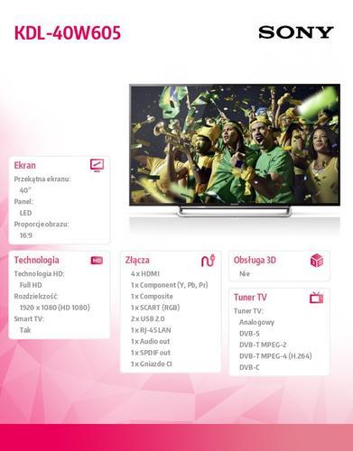 Sony 40'' LED KDL-40W605