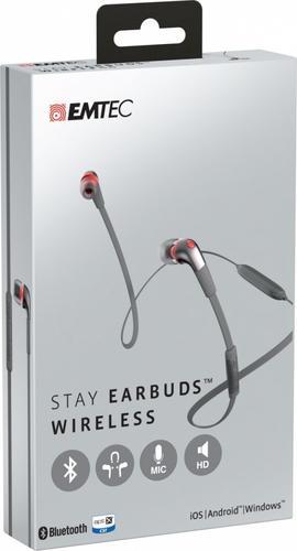 EMTEC Słuchawki z mic. Bluetooth Stay Earbuds
