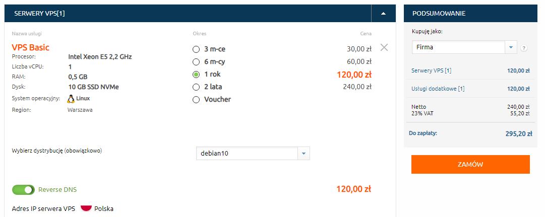 Zakup serwera VPS od nazwa.pl