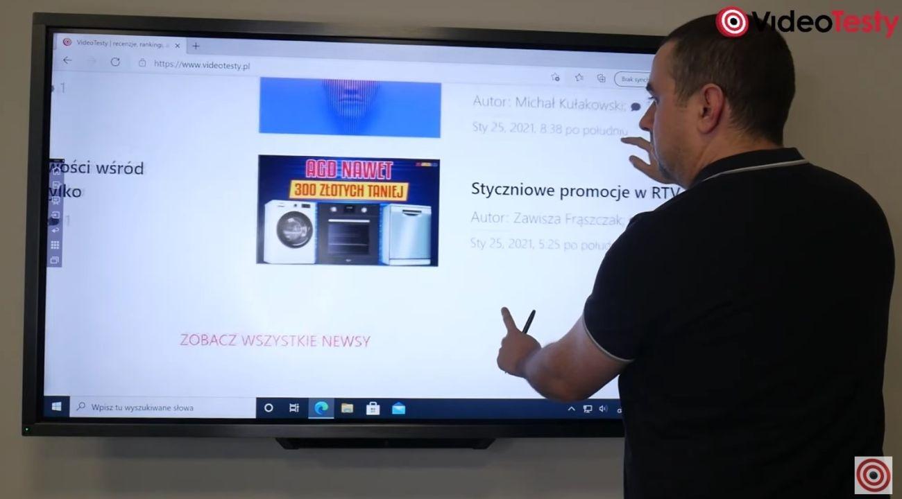 Używanie gestów do pracy na monitorze Newline Mira