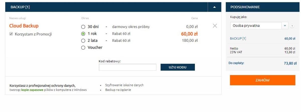 Cena Cloud Backup w Nazwa.pl