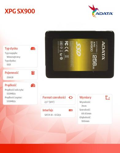 A-Data SSD XPG SX900 256GB 2.5'' SATA3 SF2281 Sync 555/535 MB/s