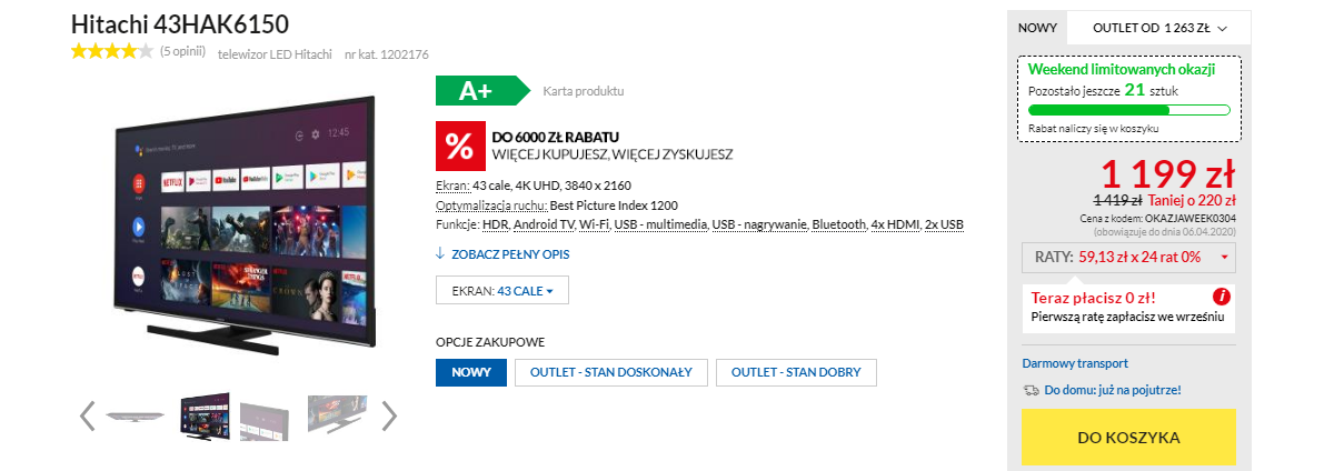 Telewizor Hitachi 43HAK6150 za 1199 zł w Euro RTV AGD