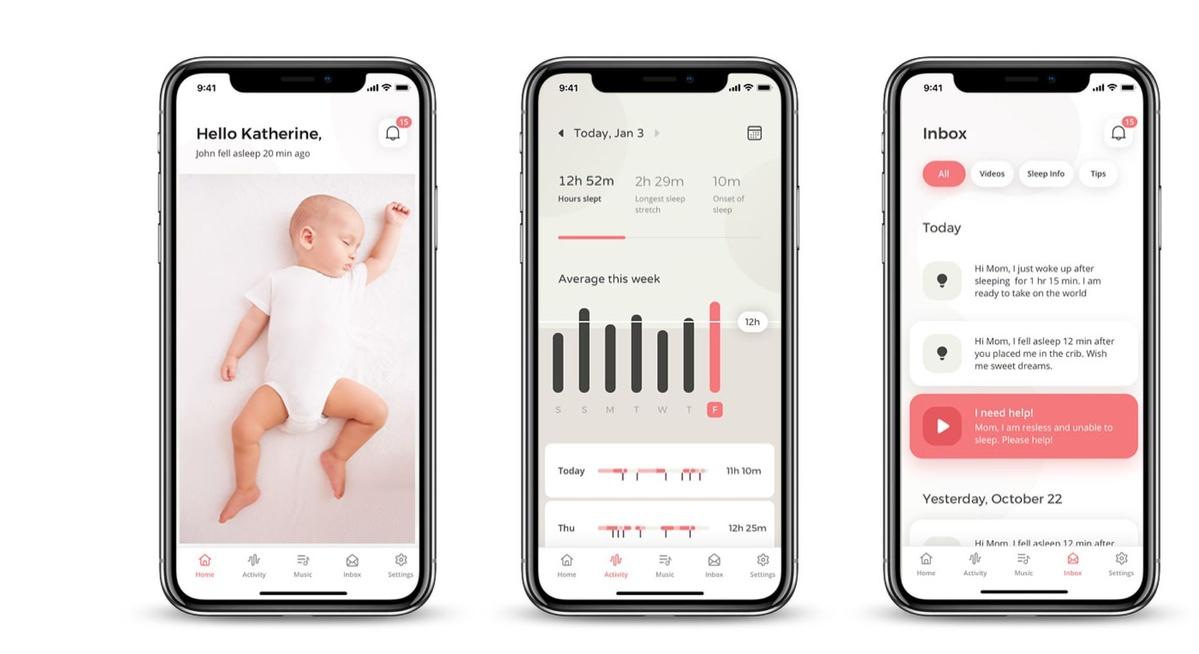 Aplikacja mobilna Cradlewise przedstawia szczegółowe raporty o stanie dziecka