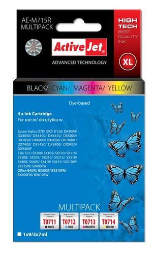 ActiveJet AE-M715R multipack tusz czarny, cyan, magenta, żółty do drukarki Epson (zamiennik Epson T0715) Premium