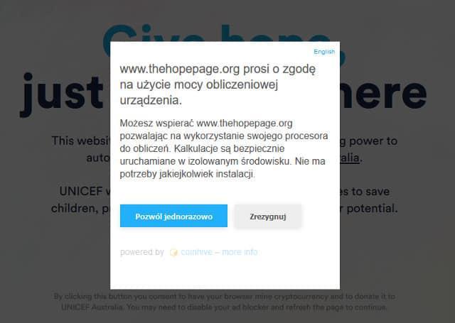 Informacja dla użytkowników nowej strony UNICEF-u