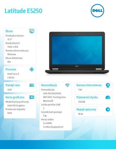 "Dell Latitude E5250 W7PR(64bit Win8.1lic) i3-4030U/4GB/500GB/HD4400/WiFi/3cell/Backlit/12.5"" HD NT AG/3Y NBD"