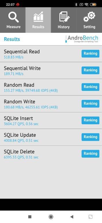 Wynik Redmi Note 8 Pro w Androbench